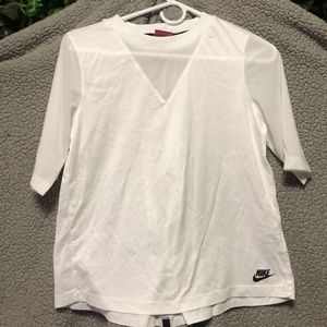 Nike White T-shirt sheer Vneck & Sleeves
